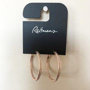 Reitmans | Gold Crystal Studded Hoop Earrings